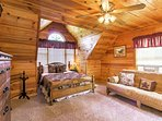 This stunning Queen Loft Bedroom offers unparalleled privacy  and futon for extra guests.