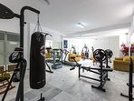 Fully equipped Gym with a wide collection of fitness equipment.