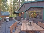 Step outside and enjoy a meal on the deck, there are also lounge chairs and a hot tub!