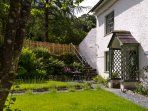 RGH front garden with steps to Hawkshead Hideaway