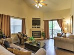 Sink into the plush furniture by the warmth of the gas fireplace.