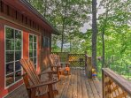 From the deck, you'll enjoy tranquil views of the woods with Mount LeConte in the background.