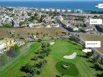 campo de golf, casa y playa