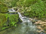 You'll love the soothing sounds of the waterfall.