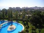 View from balcony over the pool, Parque de la Paloma, the sea and Benalmadena