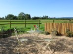 Alfresco dining with uninterrupted views of the Mendip hills.