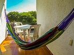 Balcony with hammock off the bedroom.