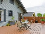 The private back deck is available for your rest and relaxation.