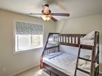 The home's third bedroom is complete with a twin-over-full bunk bed.
