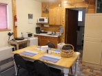 Dining table and kitchenette in Denali