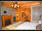 Master suite; 1st floor, electric fireplace.