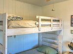 The bunk bed is ideal for two children in your travel group!