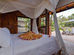 Double bed next to the terrace