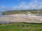 A busier Perranporth beach.