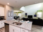 Open concept kitchen that integrates perfectly