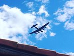 The Lancaster flies overhead from time to time