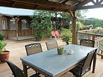 Outdoor Dining and Front of Cabin - Over 900 square feet of deck space