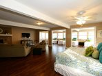 Great Room Upstairs - Features living area, king bed, 4 twin beds, & excellent views