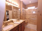 Master Bathroom with Dual Sinks and Large, Walk-In Shower