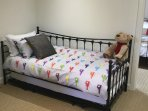 3 ft bed with pull out trundle to make another bed.NOTE only suitable for 2 children up to12 years.