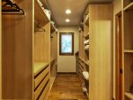 The master bedroom offers a spacious closet.