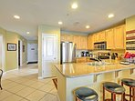 Take advantage of this fully equipped kitchen for family dinners.