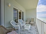 Dine al fresco or just enjoy the serene views from this private balcony.
