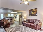 Cozy up on the couch and watch your favorite shows on the flat-screen TV in the main level living area.