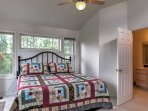 This bedroom also offers a king-sized bed.