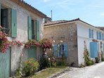 The coastal village of Talmont. Famous for its Greek - like houses and abundance of Hollyhocks!