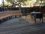 The new back deck has seating as well