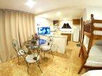 1st Floor Bedroom: 2 Queen Beds, 2 Single Beds, 1 Queen Sofa Bed, HD TV, Kitchen, Bathroom