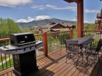 Large deck with gas grill, plus Emerald Mountain and sunset views