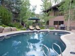 Relax at this beautiful pool area with a gas grill available for guest use.