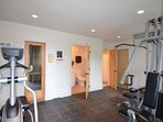 There is a small work out room with shower and sauna that is available to guests