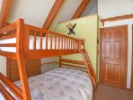 Newly purchased bunk beds. Lots of closet space.