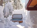 Hot tub is oasis in the beautiful Tahoe snow