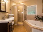 Full bath with soaking tub and walk-in shower