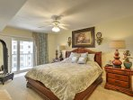 Rest your head after a long day in the master bedroom, which includes a king-sized bed, flat-screen cable TV and direct...
