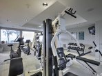 An on-site fitness center helps to keep that beach body in tact.
