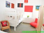 Plus pair of adult bunk beds and futon style bed chair