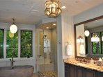 Master Bath with shower jets, rain head, soaking tub with gazing mountain views