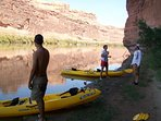 Taking a break kayaking the Colorado River