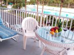 Intracoastal waterfront condo. Beach across the street. From the balcony view of Olympic size pool.