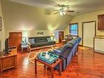 The spacious apartment boasts hardwood floors.