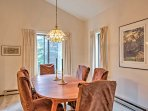 Sit down for family meals at the dining room table.