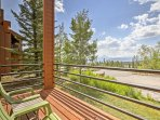 Head out in the mornings to the condo's private deck to enjoy a warm cup of coffee.