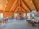 Spend your days lounging in the club house and relish the high cathedral ceilings, red wood paneling, and flat-screen...