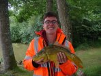 Very happy guest by our fishing lake