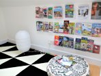 Attic with a collection of trip planners and leaflets...